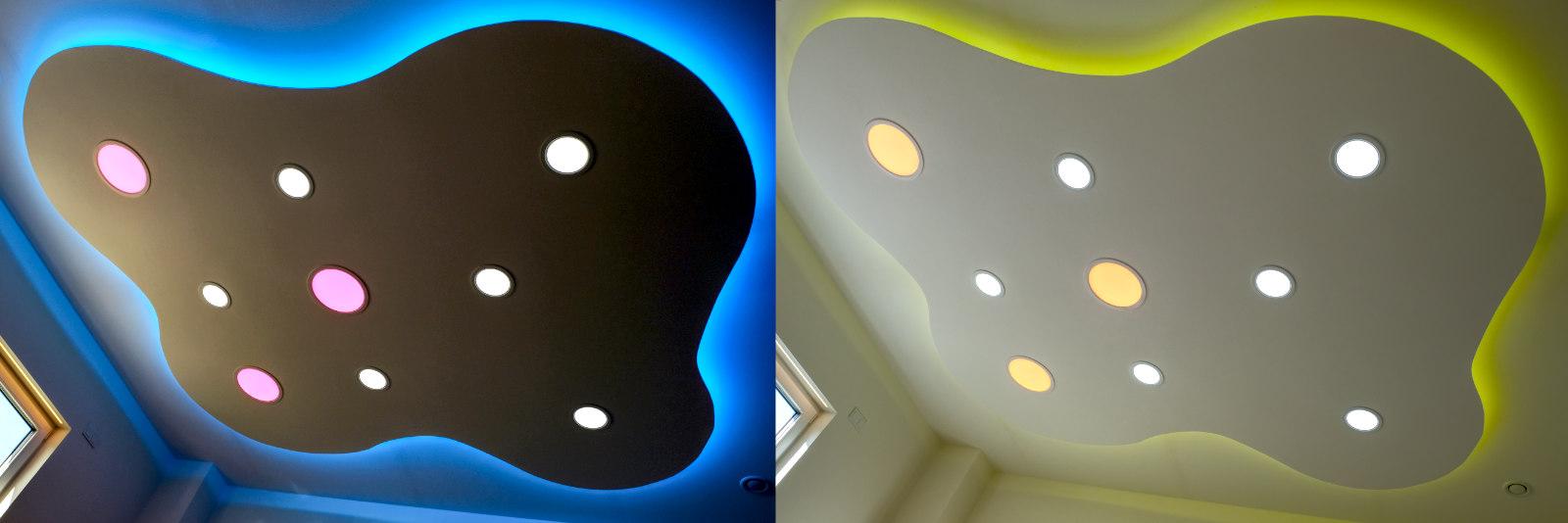 indirekte LED Deckenbeleuchtung mit LED Stripes und Panels