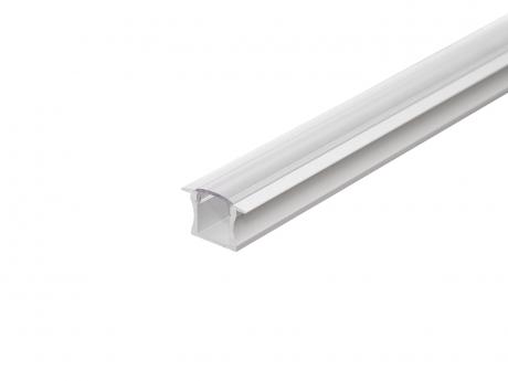 LED Alu T-Profil Slim 15mm silber mit Abdeck 2,0m opalweiß