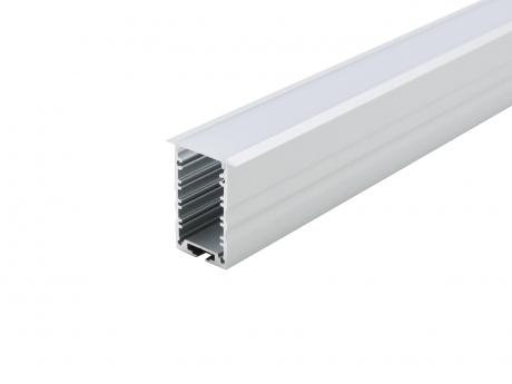 LED Alu T-Profil High 30mm silber mit Abdeckung 2,0m transparent