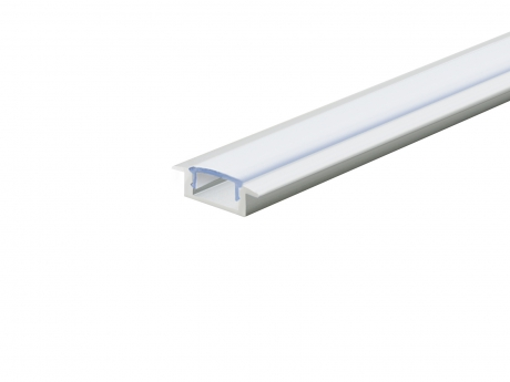 LED Alu T-Profil Slim 7mm silber mit Abdeckung 2,0m opalweiß