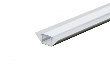 Alu Eckprofil flache Ecke silber mit Abdeckung 2,0m opalweiß