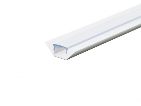 Alu Eckprofil flache Ecke weiß mit Abdeck 2,0m transparent
