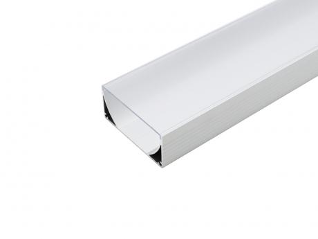LED Alu U-Profil 80mm silber mit Abdeckung