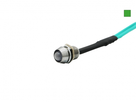 LED Schraube 12Vdc inkl. Chromgehäuse LED grün 5mm LED DIFFUS