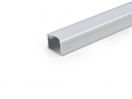 LED Alu U-Profil Slim 15mm silber mit Abdeck 2,0m opalweiß opalweiß | 2,0m