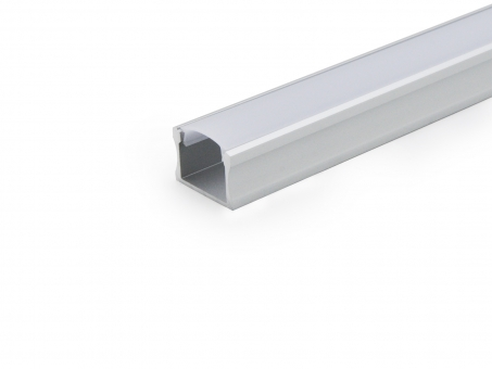 LED Alu U-Profil Slim XL 15mm silber mit Abdeckung 2,0m transpare transparent | 2,0m
