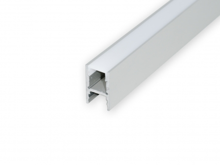 Alu H-Profil 30mm XXLineHigh silber mit Abd 2,0m opalweiß opalweiß | 2,0m