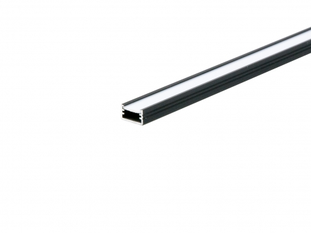 LED Alu U-Profil AL-PU2 7mm mit Abdeckung 2,0m schwarz schwarz | 2,0m