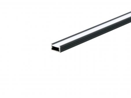 LED Alu U-Profil AL-PU2 7mm mit Abdeckung 1,0m schwarz schwarz | 1,0m
