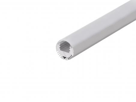Alu Rund-Profil 24mm silber mit Abdeckung 2,0m transparent transparent | 2,0m