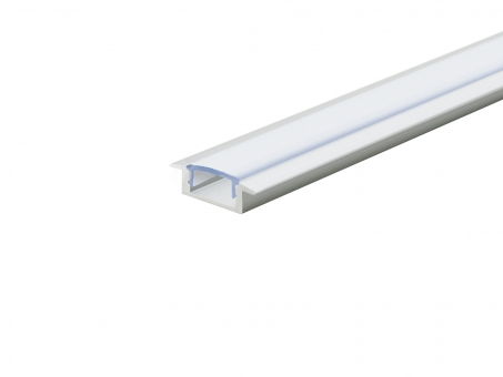 LED Alu T-Profil Slim 7mm silber mit Abdeckung 2,0m opalweiß opalweiß | 2,0m