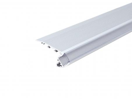 Alu Treppenstufenprofil TypA silber mit Abd 2,0m opalweiß opalweiß | 2,0m