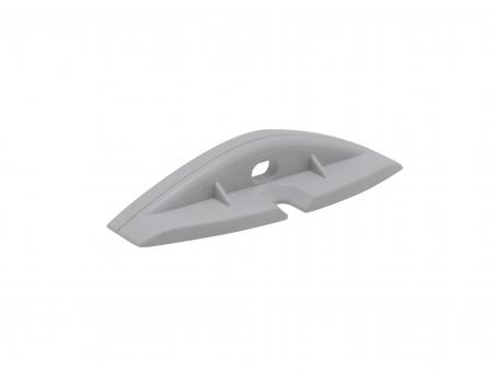 Endkappe Alu Flachprofil mit Kabeldurchg Schrauben Kunststoff gra grau
