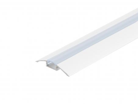 LED Alu Flachprofil weiß lackiert mit Abdeck 2,0m transparent transparent | 2,0m