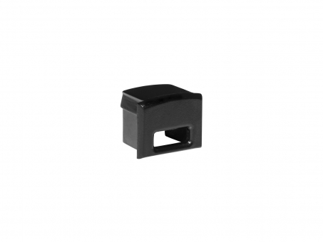 Endkappe für Alu Kühlprofil AL-PU6 Kunststoff sw mit Kabeldurchg.