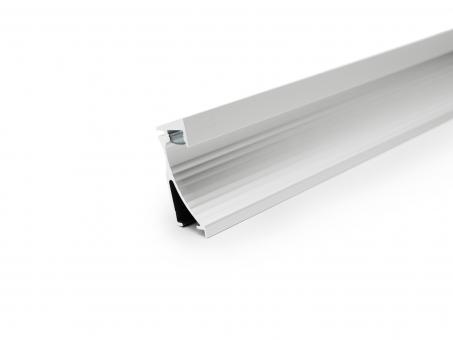 LED Alu Wandeinbauprofil silber mit Abdeckung 2,0m transparent transparent | 2,0m