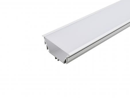 LED Alu T-Profil 80mm silber mit Abdeckung 1,0m opalweiß opalweiß | 1,0m