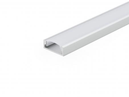 LED Alu U-Profil Slim XL 8mm silber mit Abdeckung 2,0m opalweiß opalweiß | 2,0m