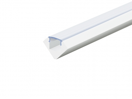 Alu Profil 45-Grad weiß lackiert mit Abdeckung 2,0m transparent transparent | 2,0m