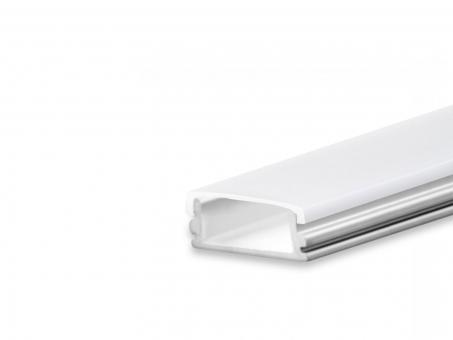 LED Profil AL-PU10 silber mit opalweißer Abdeckung flach 2m