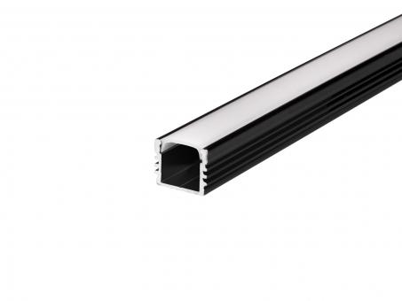 LED U-Profil AL-PU6 17mm mit Abdeckung 2,0m schwarz transparent transparent | schwarz