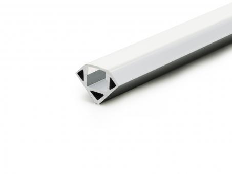 Alu Eckprofil 45-Grad silber mit opal. Abdeckung 2m