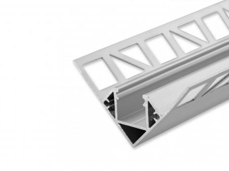 LED Alu Fliesenprofil AL-PU21 für Innenecken silber 2,5m 2,5m