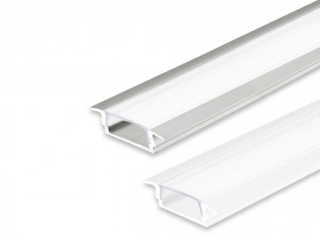 LED Alu T-Profil AL-PU9 Slim 6mm mit opalw. Abdeck 2,0m silber silber