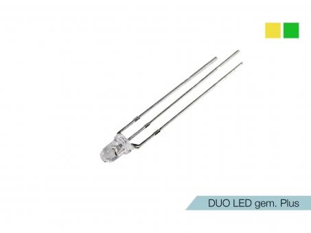 DUO LED gelb/grün LEDs 3mm ultrahell gemeinsamer PLUSPOL