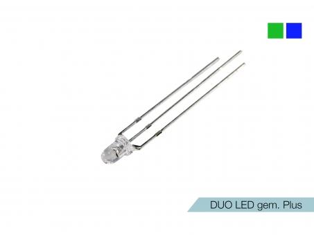DUO LED grün/blau LEDs 3mm ultrahell gemeinsamer PLUSPOL