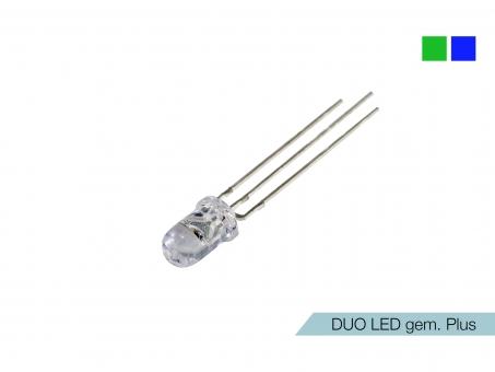 DUO LED grün/blau LEDs 5mm ultrahell gemeinsamer PLUSPOL