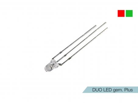 DUO LED rot/grün LEDs 3mm ultrahell gemeinsamer PLUSPOL