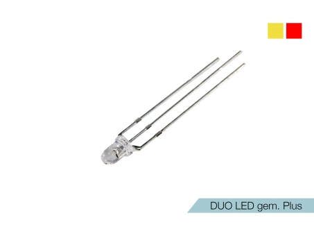 DUO LED gelb/rot LEDs 3mm ultrahell gemeinsamer PLUSPOL
