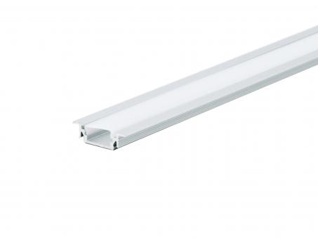 LED Alu T-Profil AL-PU5 silber mit Abdeckung 1,0m 1,0m
