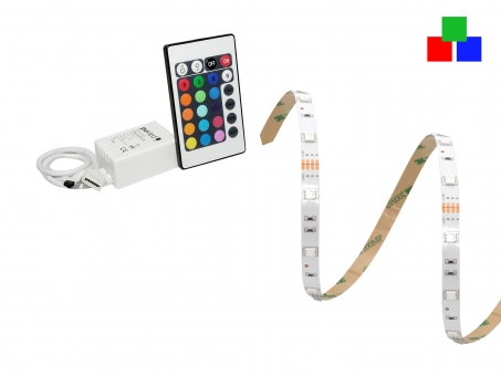 IR-SET 1: Easylight 3 SET + Netzt. + 12Vdc-RGB Stripe 30LEDs/m Ei 1,0m | Einbaunetzteil mit Schraubklemmen