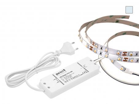 ECO-SET: 4,5m LED Stripe 12Vdc 60LEDs/m kaltweiß + Netzteil 4,5m