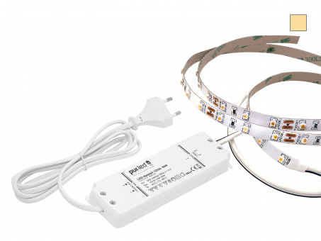 ECO-SET: 1,5m LED Stripe 12Vdc 60LEDs/m warmweiß + Netzteil 1,5m