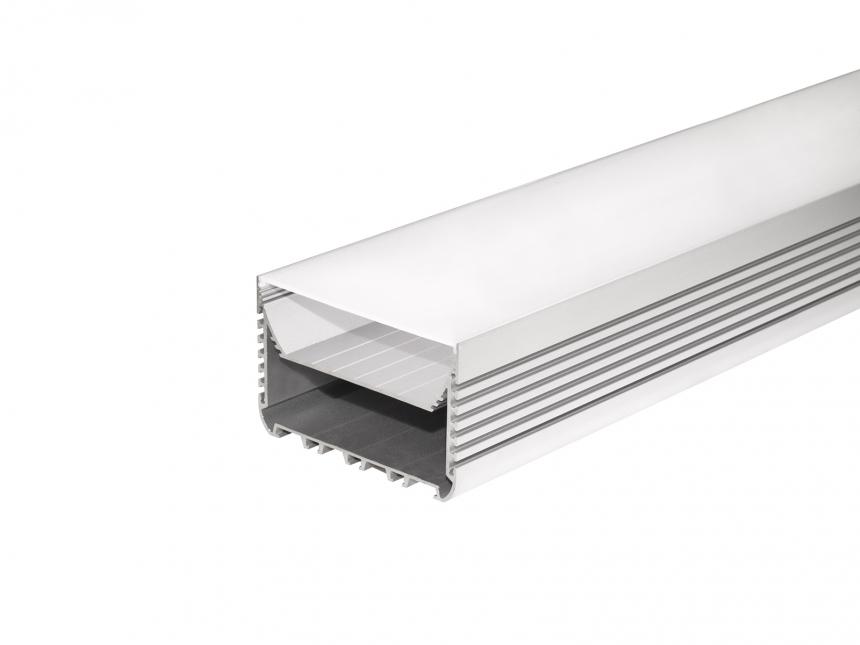 LED Alu U-Profil 116mm silber mit Abdeckung 1,0m transparent