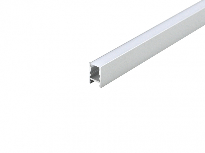 LED Alu U-Profil Slim XS silber mit Abdeckung 2,0m opalweiß