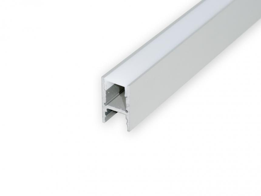 Alu H-Profil 30mm XXLineHigh silber mit Abd 1,0m opalweiß