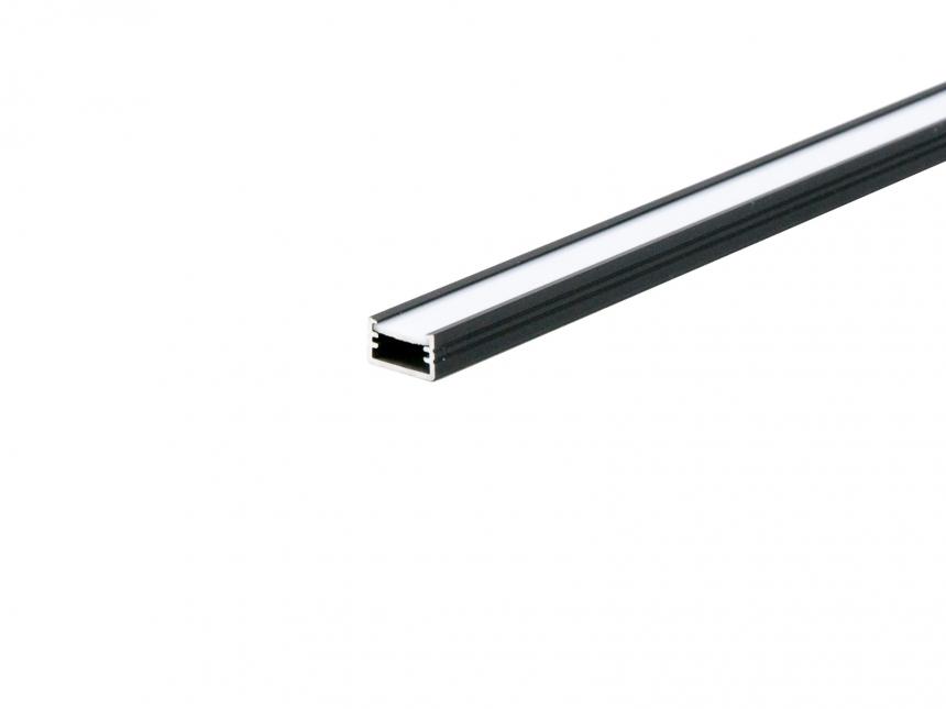 LED Alu U-Profil AL-PU2 7mm mit Abdeckung 2,0m schwarz