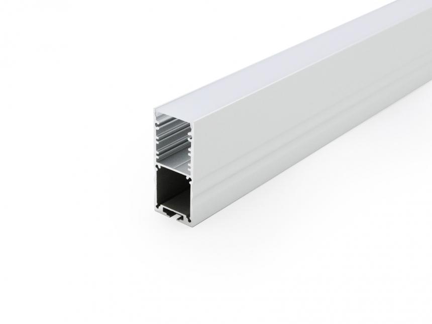 LED Alu U-Profil High 30mm silber mit Abdeckung 1,0m opalweiß
