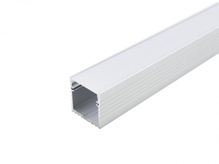 LED Alu U-Profil 35mm silber mit Abdeckung 2,0m opalweiß