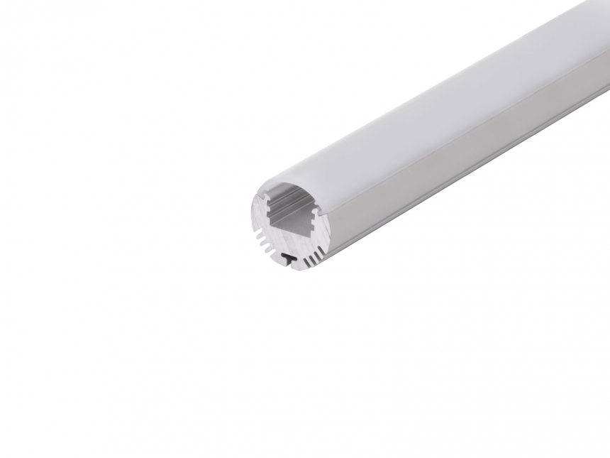Alu Rund-Profil 24mm silber mit Abdeckung 1,0m transparent