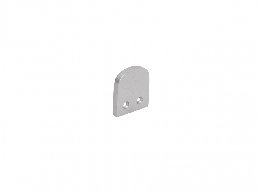 Endkappe U-Profil Square silber matt ohne Kabeldurchgang Alu