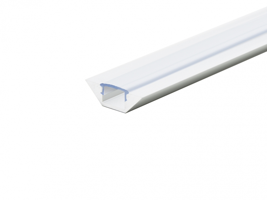 Alu Eckprofil flache Ecke weiß mit Abdeck 1,0m opalweiß