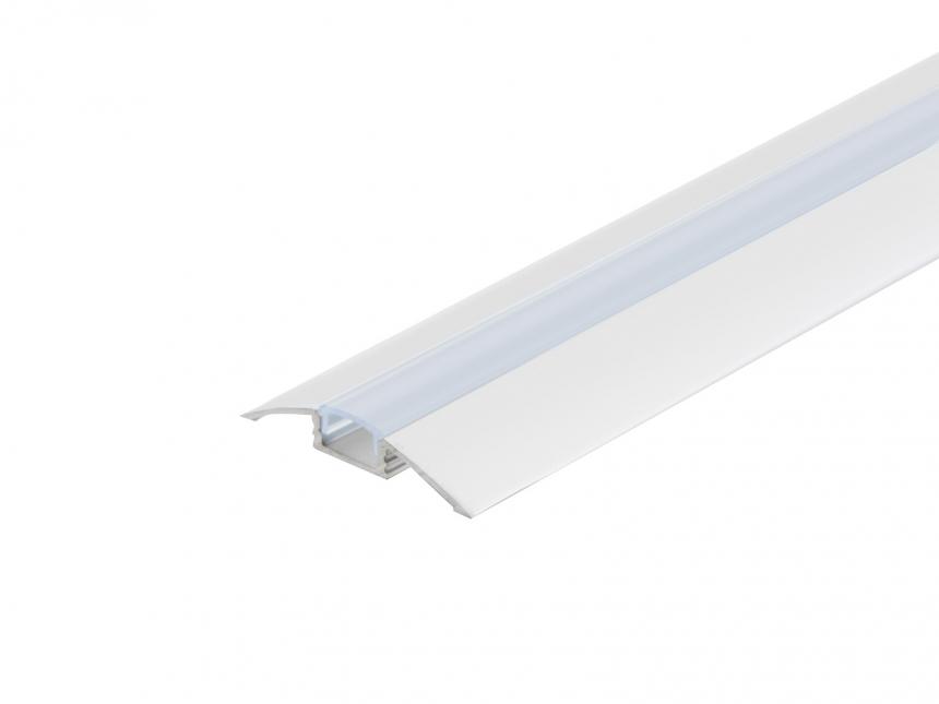 LED Alu Flachprofil silber mit Abdeckung 2,0m opalweiß