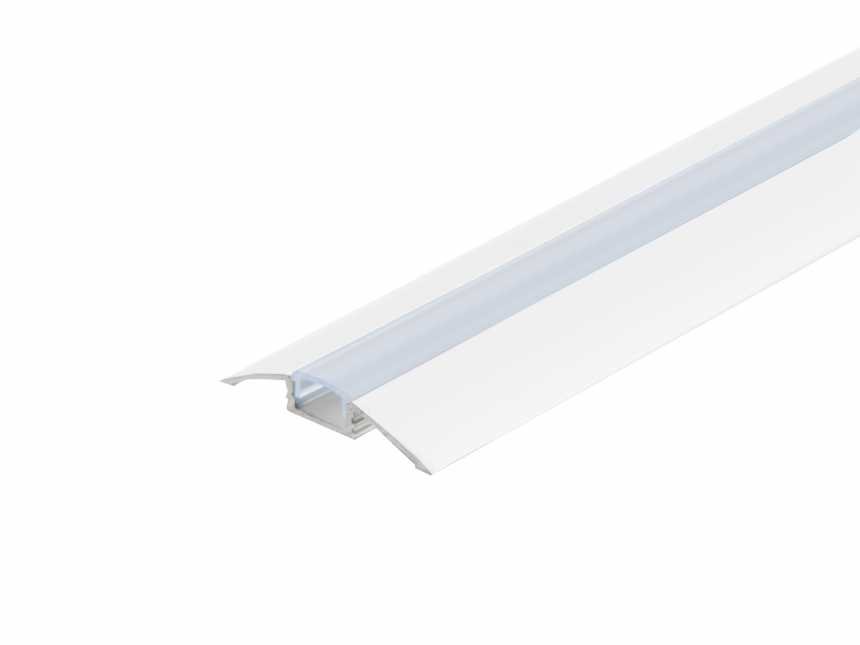 LED Alu Flachprofil weiß lackiert mit Abdeck 1,0m transparent