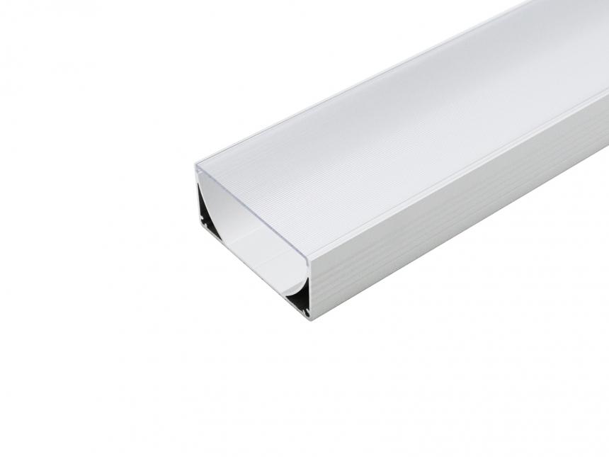 LED Alu U-Profil 80mm silber mit Abdeckung 3,0m transparent