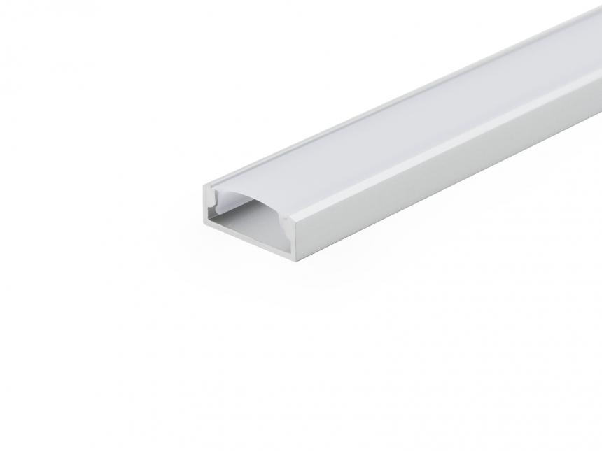 LED Alu U-Profil Slim XL 8mm silber mit Abdeckung 1,0m opalweiß